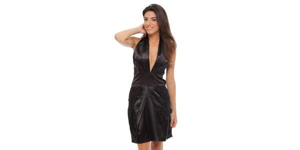Dámske čierne saténové šaty Strena