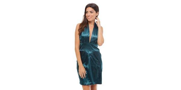 Dámske tyrkysové saténové šaty Strena