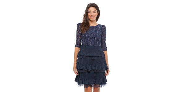 Dámske tmavo modré čipkové šaty Strena s volánom
