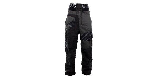Pánske šedo-čierne lyžiarske nohavice Meat Fly