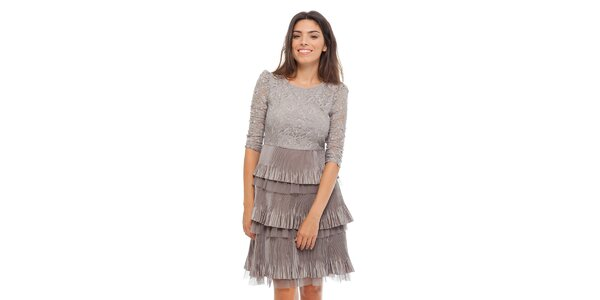 Dámske šedé čipkové šaty Strena s volánom