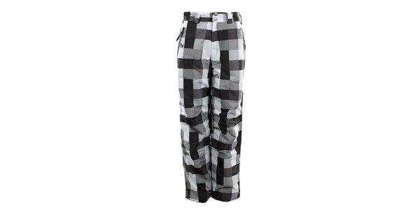 Dámske čierno-biele kockované funkčné nohavice Meat Fly