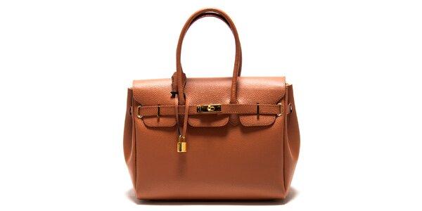 Dámska koňakovo hnedá kabelka so zámčekom Roberta Minelli