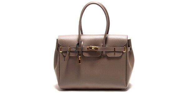 Dámska šedohnedá kabelka so zámčekom Roberta Minelli