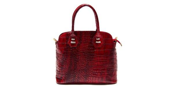 Dámska malinová kabelka Roberta Minelli s motívom hadej kože