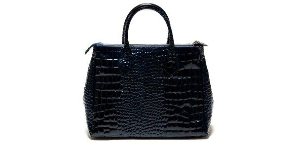 Dámska lesklá modrá kabelka Roberta Minelli s motívom hadej kože
