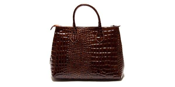 Dámska lesklá hnedá kabelka Roberta Minelli s motívom hadej kože