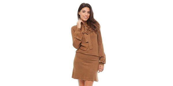 Dámske hnedé úpletové šaty Strena s viazankou