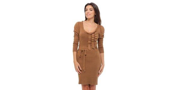 Dámske hnedé úpletové šaty Strena