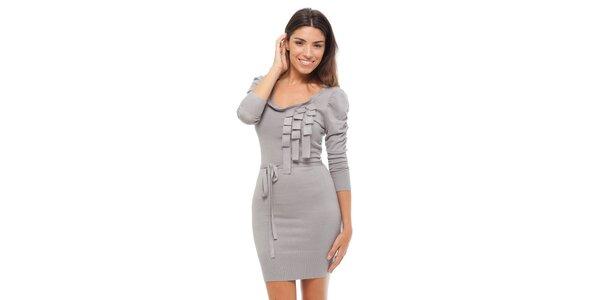 Dámske svetlo šedé úpletové šaty Strena
