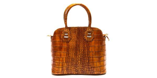 Dámska svetlo hnedá kabelka Roberta Minelli s motívom hadej kože