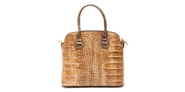 Dámska béžová kabelka Roberta Minelli s motívom hadej kože