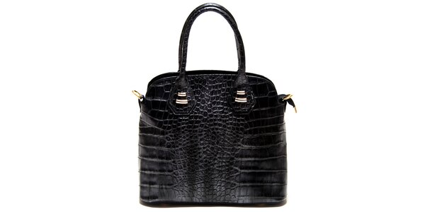 Dámska čierna kabelka Roberta Minelli s motívom hadej kože