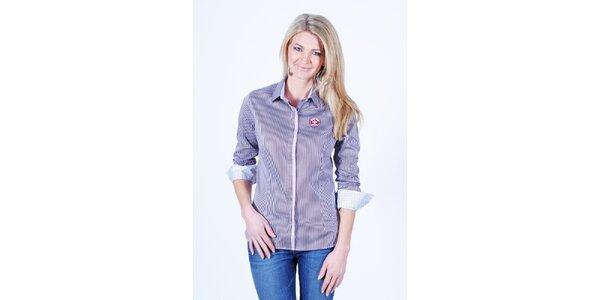Dámska fialovobielo pruhovaná košeľa Pontto