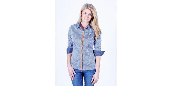 Dámska modrobielo pruhovaná košeľa Pontto