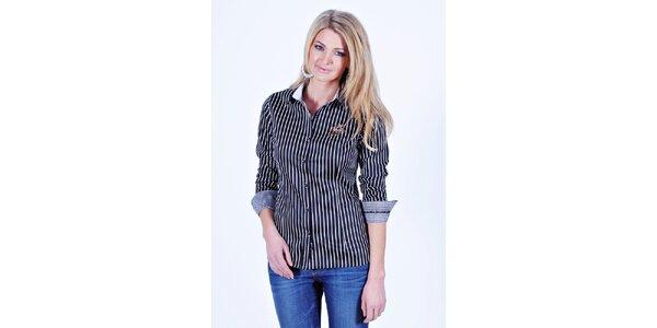 Dámska čiernobielo pruhovaná košeľa Pontto