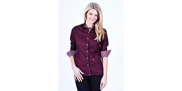 Dámska fialová košeľa Pontto s kockovanými manžetami