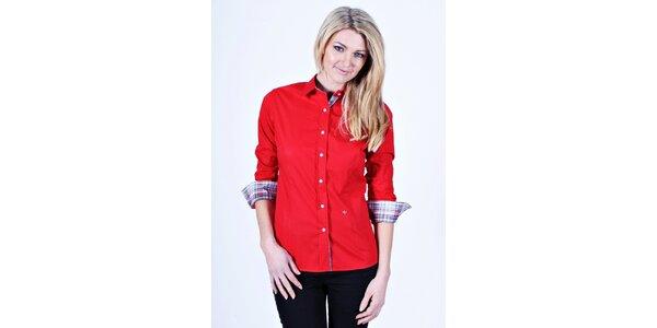 Dámska červená košeľa Pontto s kockovanými manžetami