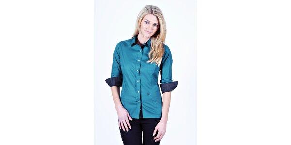 Dámska tyrkysová košeľa Pontto s bodkovanými manžetami