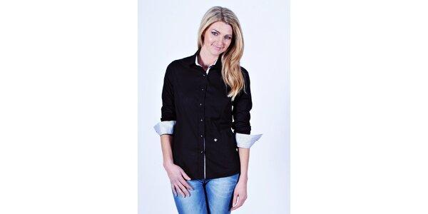 Dámska čierna košeľa Pontto s bodkovanými manžetami