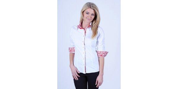 Dámska biela košeľa s kvetinovou podšívkou Pontto
