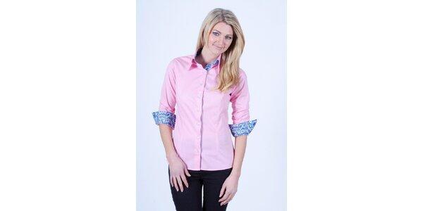 Dámska ružová košeľa s kvetinovou podšívkou Pontto