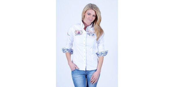 Dámska biela košeľa Pontto s kvetinovou podšívkou