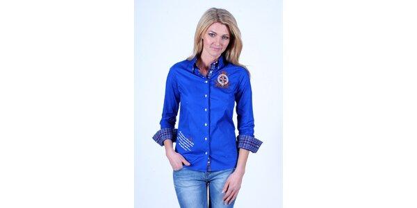 Dámska modrá košeľa Pontto s kockovanou podšívkou