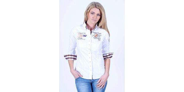 Dámska biela košeľa Pontto s výšivkou na hrudi
