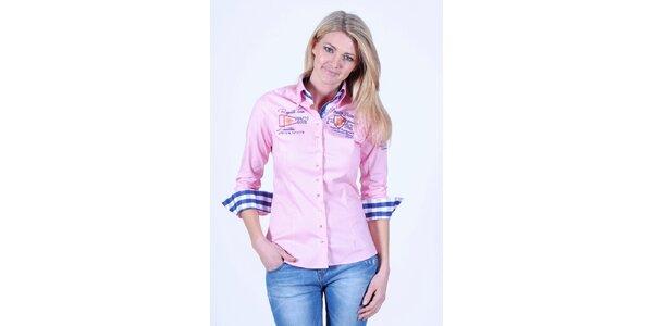 Dámska ružová košeľa Pontto s výšivkou na hrudi
