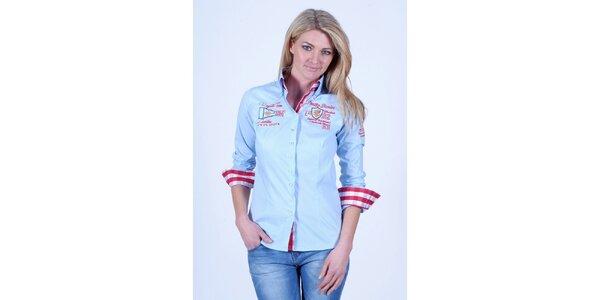 Dámska svetlo modrá košeľa Pontto s výšivkou na hrudi