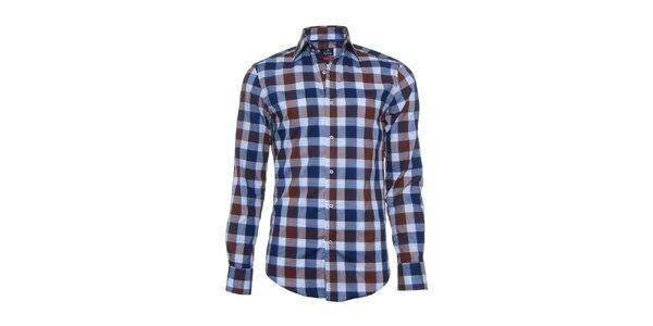 Pánska modro-hnedá kockovaná košeľa Pontto