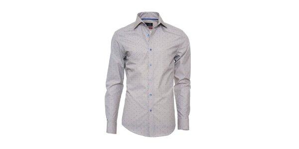 Pánska šedá košeľa s modrým vzorom Pontto