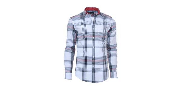 Pánska svetlo modrá košeľa s károvaným vzorom Pontto
