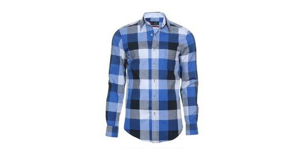 Pánska modrá košeľa s veľkou kockou Pontto