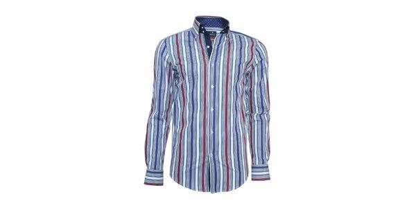 Pánska košeľa Pontto so zvislými farebnými pruhmi