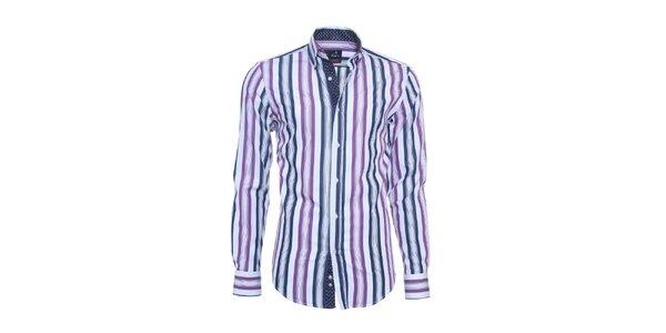 Pánska biela košeľa Ponto s modro-fialovými pruhmi
