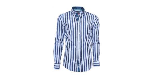 Pánska biela košeľa Ponto s modrými pruhmi
