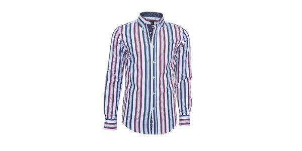Pánska biela košeľa Ponto s modro-červenými pruhmi