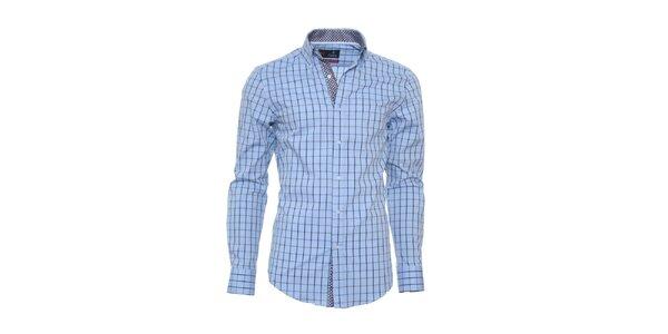 Pánska svetlo modrá kockovaná košeľa Pontto s bodkovanými detailmi