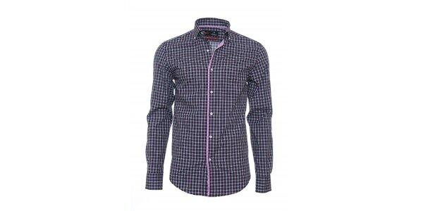 Pánska kockovaná košeľa Pontto s ružovým lemom