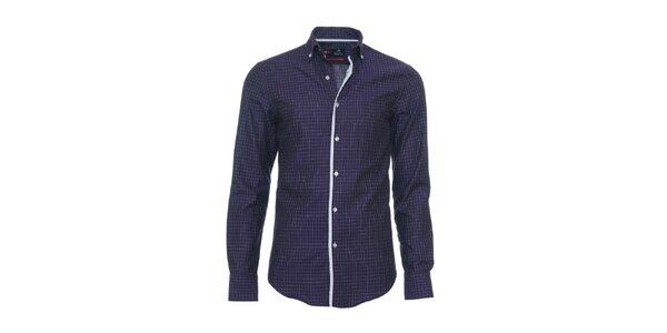 Pánska modro-fialová košeľa Pontto s kockou