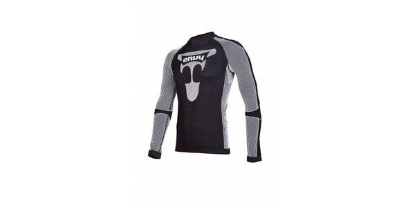 Pánske čierno-šedé bezošvé termo tričko Envy