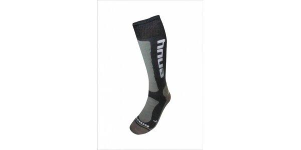 Pánske čierno-šedé lyžiarske ponožky s merino vlnou
