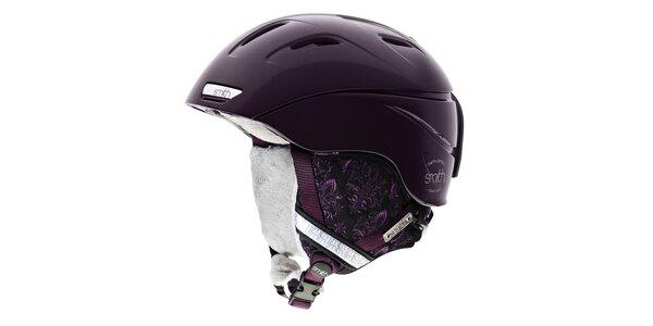 Tmavo fialová dámska lyžiarska helma Smith s vnútorným fleecom