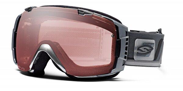 Tmavo šedé lyžiarske okuliare Smith Optics so sférickými sklami