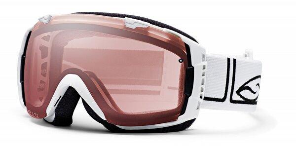Biele lyžiarske okuliare Smith Optics so sférickými sklami