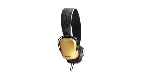 Designové zlato-čierne slúchadlá Frends