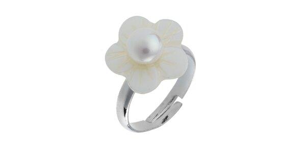 Dámsky perleťový prstienok s bielou perlou Orchira