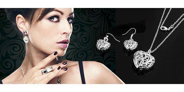 strieborná súprava šperkov v tvare srdiečok